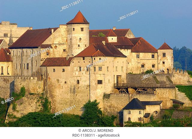Burghausen, Castle, Upper Bavaria, Altötting district, View from Austria over Salzach River. Germany, Bavaria