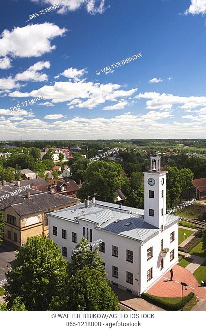 Estonia, Southwestern Estonia, Viljandi, elevated view of town hall