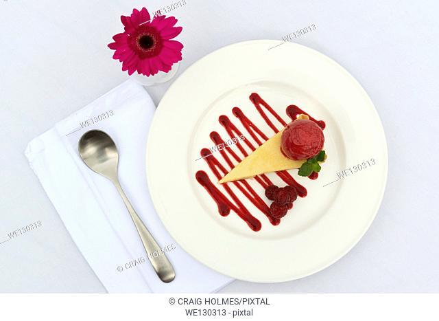 Lemon tart with raspberry sauce on a white plate