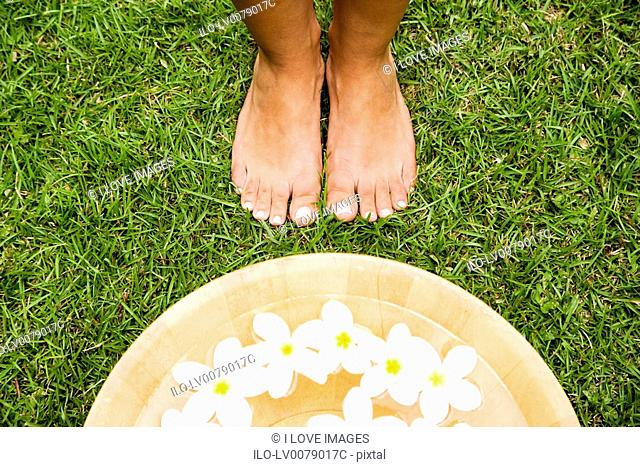 Feet and a bowl of floating frangipani flowers