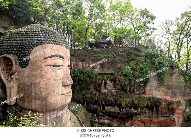 Close of up the Leshan giant Buddha, Sichuan province, China