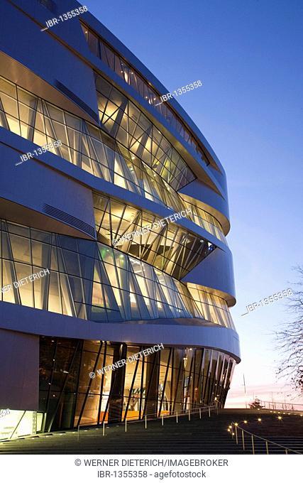Mercedes-Benz Museum, illuminated at night, modern architecture, Daimler, Bad Cannstatt, Stuttgart, Baden-Wuerttemberg, Germany, Europe