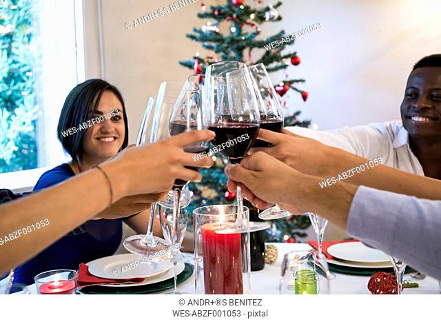 Friends toasting with wine during a Christmas dinner
