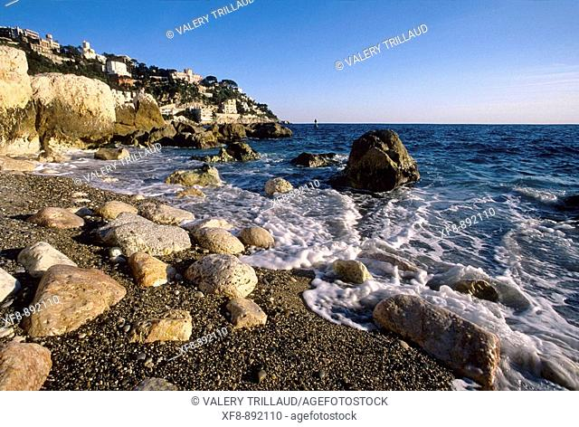 The beach of Nice called 'La Reserve' and the cape of Nice Alpes-Martimes 06 PACA France Europe