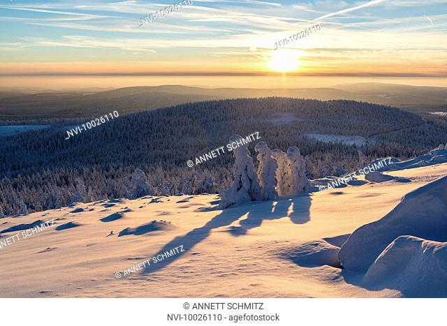 Wintertime landscape at Brocken, Harz National Park, Saxony Anhalt, Germany