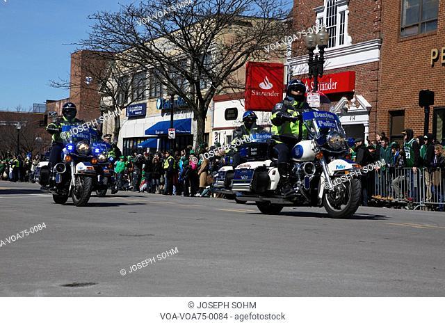 Motorcyle police, St. Patrick's Day Parade, 2014, South Boston, Massachusetts, USA