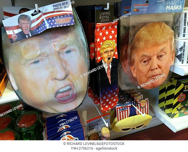 An It'Sugar store in New York displays an assortment of Hillary Clinton and Donald Trump Halloween themed masks and other tchotkes