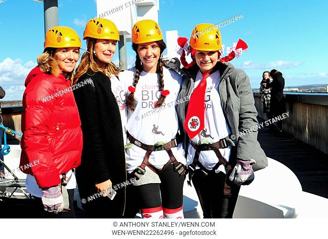 Francesca Newman-Young and Beth Sherburn abseil down Fort Dunlop for Claire's Big Drop for Comic Relief Featuring: Beth Sherburn, Francesca Newman-Young