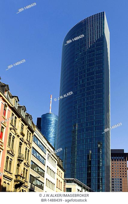 Frankfurt's red light district, the Financial District at back, Frankfurt, Hesse, Germany, Europe