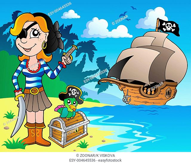 Pirate girl on coast 1 - picture illustration