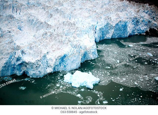 Aerial view of the Le Conte Glacier in Le Conte Bay, Southeast Alaska, USA