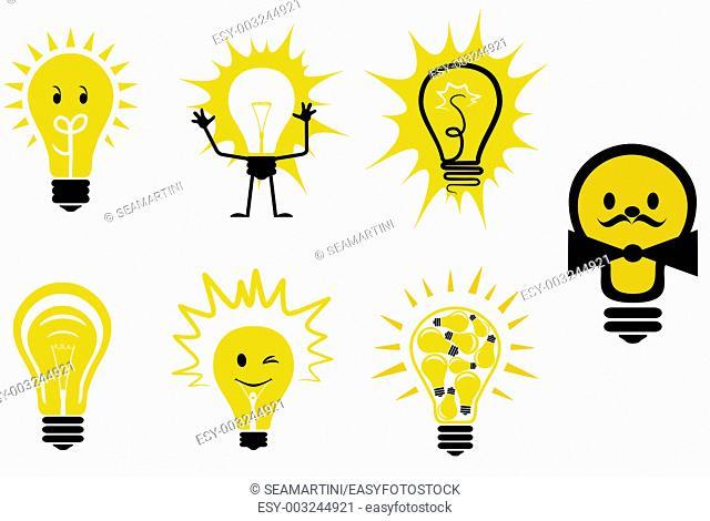 Set of light bulb symbols for design