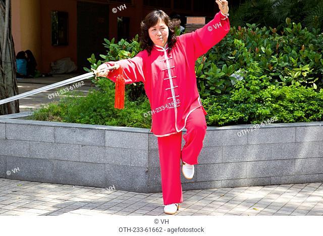 Performing chinese sword dance at New Town Plaza, Shatin, Hong Kong