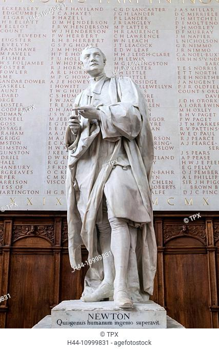 England, Cambridgeshire, Cambridge, Trinity College, The Chapel, Statue of Isaac Newton