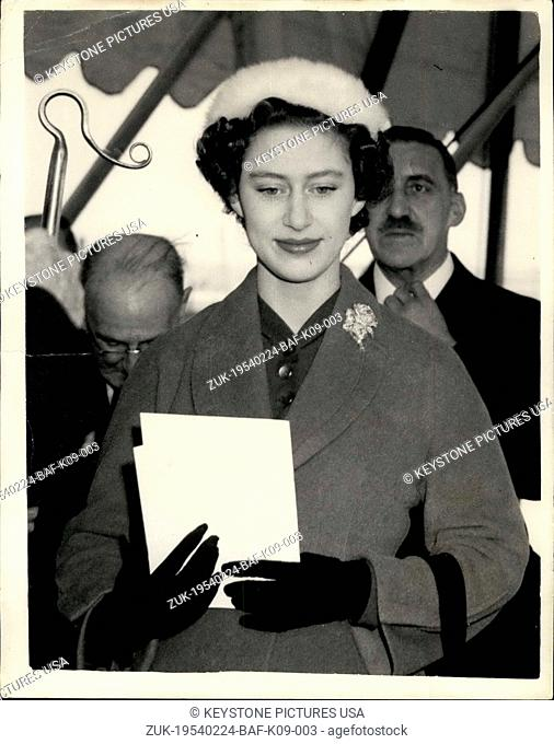 Feb. 24, 1954 - Princess Margaret lays foundation stone, ceremony at Plaistow; H.R.H. Princess Margaret this afternoon laid the foundation stone of the new St