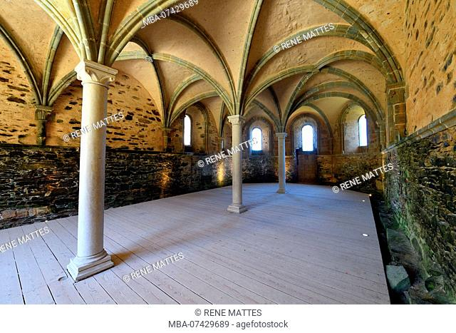 France, Cotes d'Armor, stop on the Way of St James, Paimpol, Beauport abbey 13th century, the chapter house
