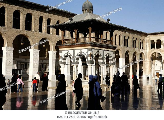 The Umayyad mosque in the middle of Souq or market in the Old Town of Damascus, Syria