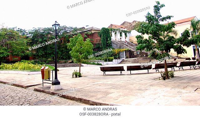sao luis do maranhao empty square park with green vegetation and trees