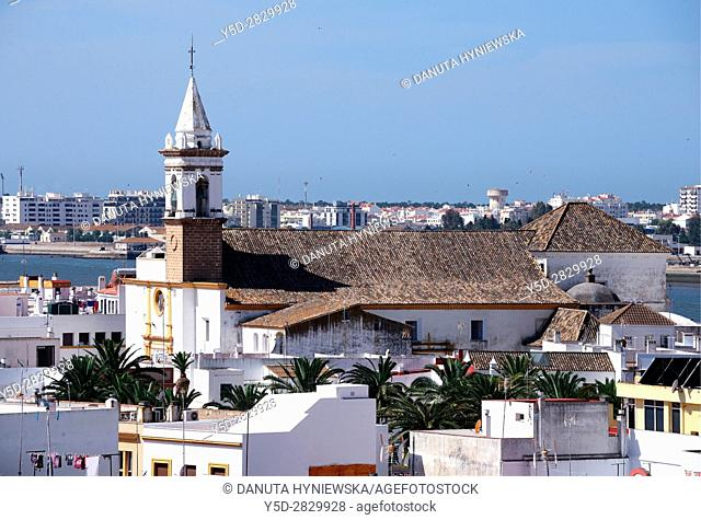 Panoramic view of Ayamonte with Guadiana river being Portuguese-Spanish border, Portuguese town - Vila Real del Santo Antonio in background