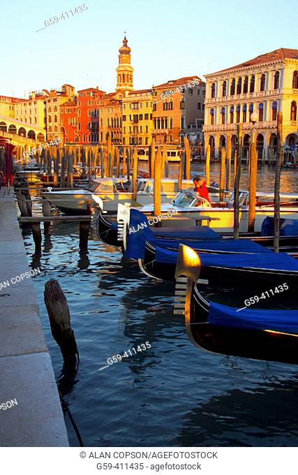 Grand Canal, Rialto Bridge and gondolas. Venice. Italy