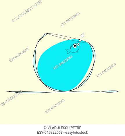 bubblefish in a glass bowl on beige background