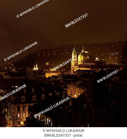 Scenic view of city at night, Prague, Praha, Czechia