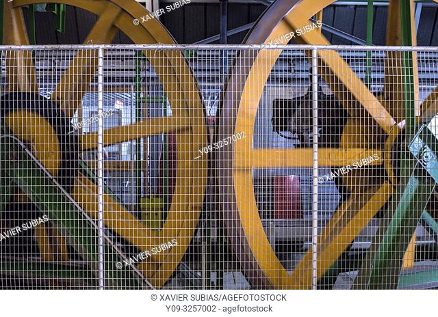 Teleferic machinery, Cableway, Mount Etna, Catania, Sicily, Italy