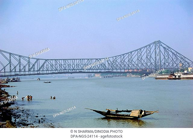 Howrah Bridge and Hoogly River , Calcutta , West Bengal , India
