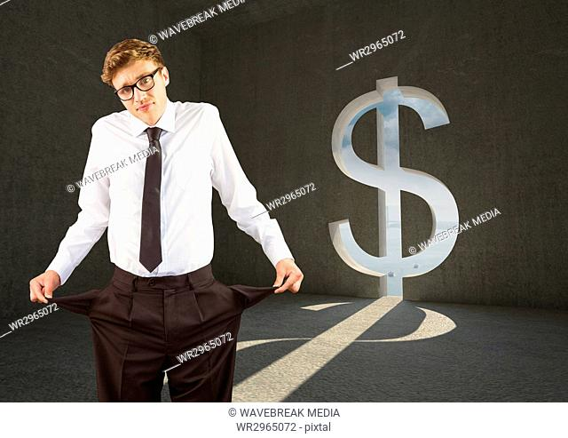 Young businessman with empty pockets in a dollar room