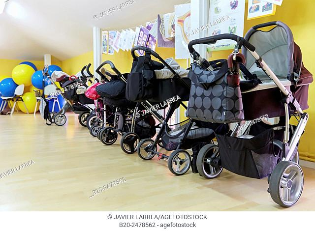 Row of baby strollers in room