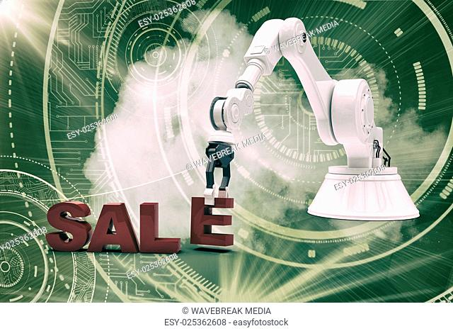 Composite image of image of robotic arm arranging sale text 3d