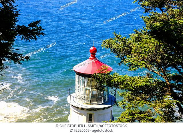 Heceta Head Lighthouse located on the Oregon coast 13 miles north of Florence OR