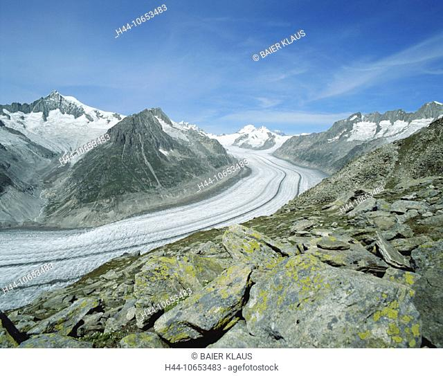 10653483, Aletsch glacier, glacier, Switzerland, Europe, Alps, mountains, rocks, cliffs, glaciers, canton Valais, scenery