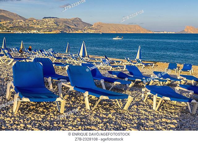 View of some hammocks on Albir beach, Alicante area, Spain