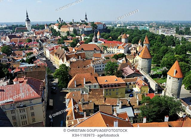 the Old Town seen from the tower of St Olav'church, Tallinn, estonia, northern europe