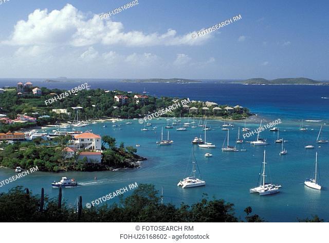 St. John, U.S. Virgin Islands, Caribbean, USVI, Scenic view of Cruz Bay on Saint John Island