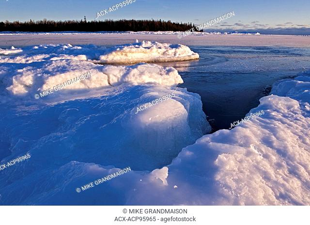 Ice on shore of Lake Huron. South Baymouth. Manitoulin Island Ontario Canada