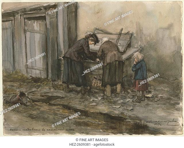 Two women and a child searching through trash bin (from the series of watercolors Russian revolution Artist: Vladimirov, Ivan Alexeyevich (1869-1947)