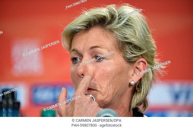 Germany-s head coach Silvia Neid during a press conference at the Commonwealth Stadium in Edmonton during the FIFA Women-s World Cup in Edmonton, Canada