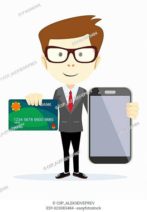 Man paying with credit card on phone