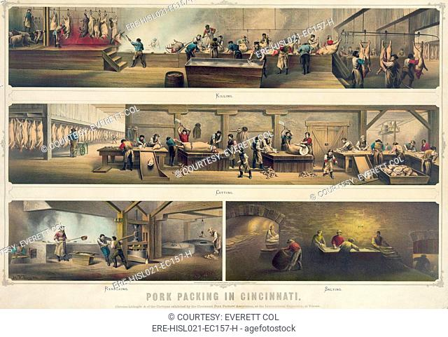 Four scenes in a pork packing house: Killing, Cutting, Rendering, and Salting are depicted in a poster of the Cincinnati Pork Packers' Association, 1873