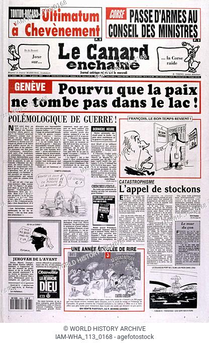 satirical French newspaper 'Le Canard Enchaine', critical of French involvement during the Gulf War (2 August 1990 - 28 February 1991)