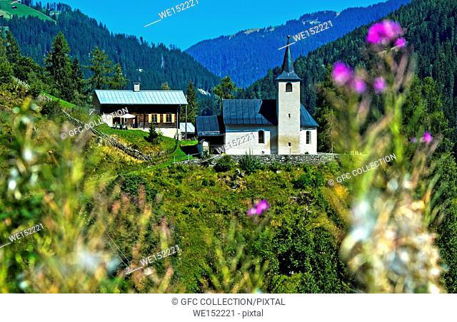 Protestant church Neukirch, Safiental, Grisons, Switzerland