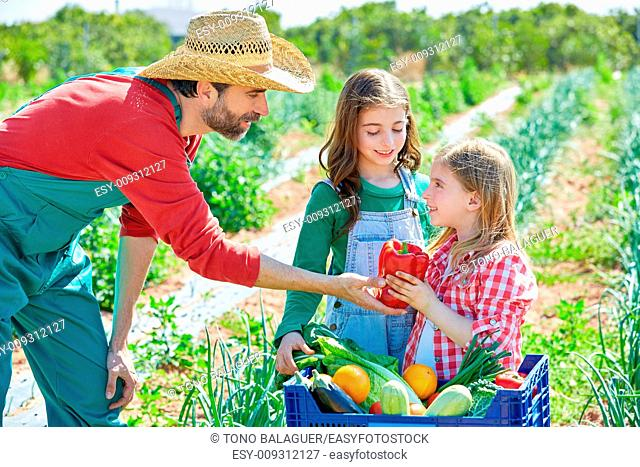Farmer man showing vegetables harvest to kid girls in orchard