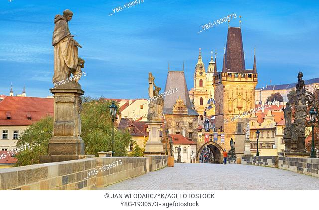 Prague - Old Town, view from Charles Bridge towards Mala Strana, Prague, Czech Republic, Europe, UNESCO