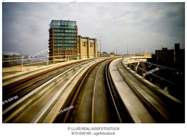 London transport, Canary Wharf. England, UK