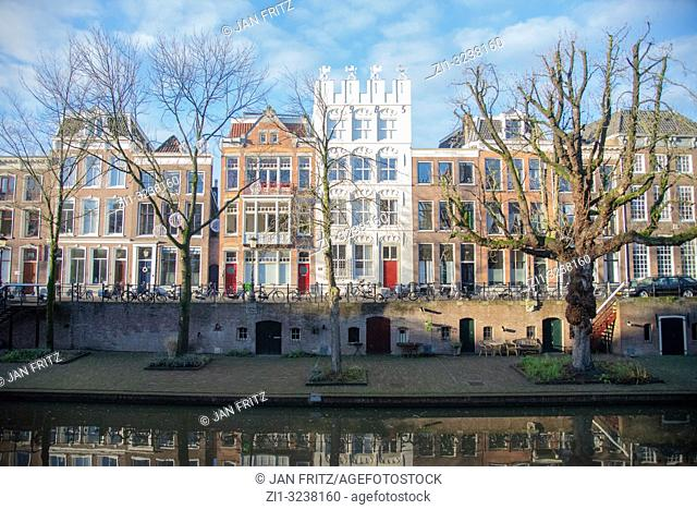 old houses at Oude Gracht in Utrecht, Holland