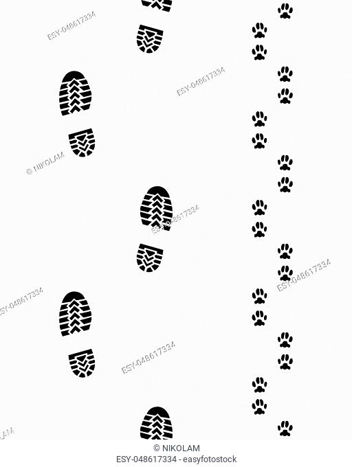 Seamless prints of shoes and paws of dog,vector