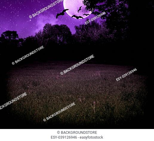 Scary Meadow at Night Halloween Violet Background