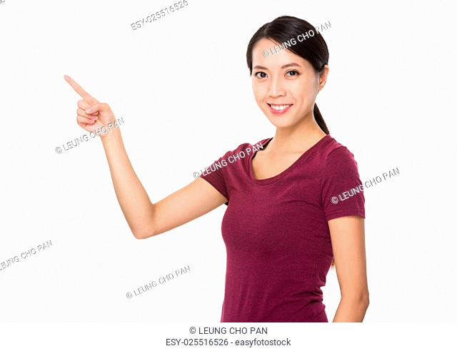 Asian woman showing finger up